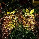 2 Pack Solarlampe Ananas, FORNORM 25 LEDS Warmweißes Licht Ananas Gartendeko Ananas Lichterkette Solar IP44 Wasserdicht für Garten Balkon Party