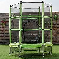 Trampoline juvénile vert avec un filet de sécurité pour enfants