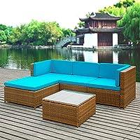 iKayaa Salon de Jardin Canape de Jardin PE Rotin Wicker Patio Meubles de Jardin Coussins d'extérieur Canapé d'angle