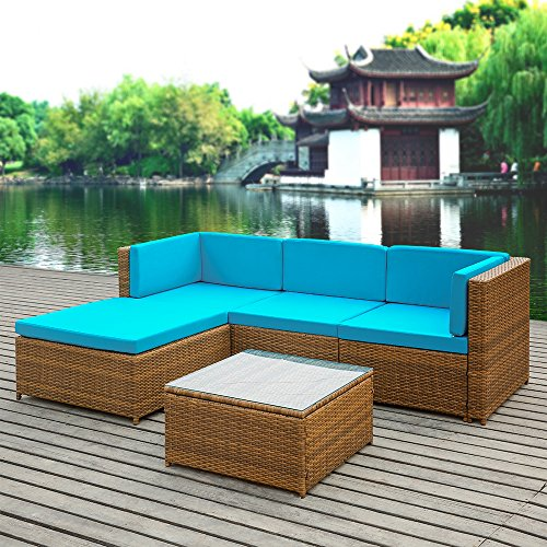 Ikayaa patio corner sofa couch table set garden furniture for Jardin wicker