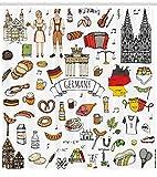 Abakuhaus Duschvorhang, Deutsche Stereotypen Fahne Brandenburger Tor Bayrischer Kleidung Bretzel Lebkuchen Bier Druck, Blickdicht aus Stoff inkl. 12 Ringen Umweltfreundlich Waschbar, 175 X 200 cm