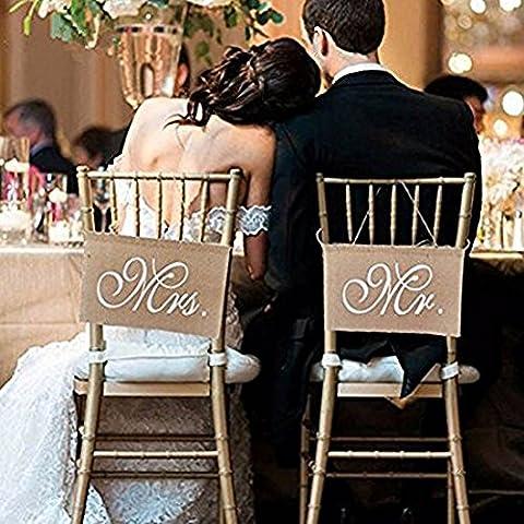 SwirlColor Lace Burlap Bögen Mr. & Mrs Burlap Stuhl Banner Set Stuhl Zeichen Garland Rustikale Hochzeit Dekoration