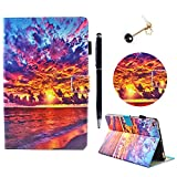 New iPad 2017 9.7 inch Case / iPad Air 2 Case / iPad Air Case - Lanveni Smart-shell Stand Cover Multiple Vewing with Inner Flexible Rubber Back Protector Card Slots & Pencil Holder - Smart Auto Wake & Sleep - Stylus & Dust Plug - Beautiful Clouds