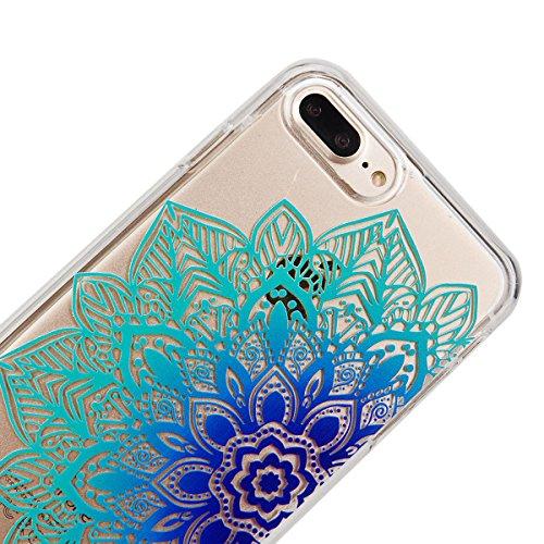 GrandEver Custodia per iPhone 7/iPhone 8 , Fashion Design Trasparente Ultra Sottile Morbido TPU Gel Silicone Cover Anti-Graffio Antiscivolo Elegante Protettiva Bumper Case - Costellazione cavallo Azul Fiore