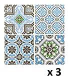 Lote de 12 Pegatinas de pared adhesivas - Motivo cuadrados de cemento - Color AZUL,VERDE y NEGRO