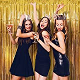 Wobbox Big 3ft x 6ft Tinsel Metallic Foil Fringe Curtains Backdrop Door Window Curtain Party Decoration (Gold) One Pack
