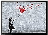 1art1 102664 Mädchen - Mädchen Mit Luftballon Und Schmetterlingen, Banksy-Style Fußmatte Türmatte 70 x 50 cm
