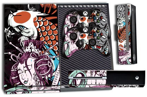 Designer Skin Sticker for the Xbox One Console With Two Wireless Controller Decals- Tsunami 61UQp9pTHHL