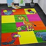 VIMODA Kinderteppich Modern Zoo Kinder Teppich Giraffe Elefant in Bunte Farben - ÖKO TEX Zertifiziert, Pflegeleicht und Strapazierfähig, Maße: 120x170cm