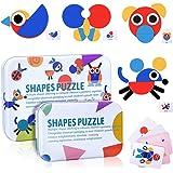 Tangram Madera Niños, Montessori Puzzle Madera, 36Pcs Rompecabezas Formas Geometricas Bloques 60Pcs Diseño Tarjetas de Apilam