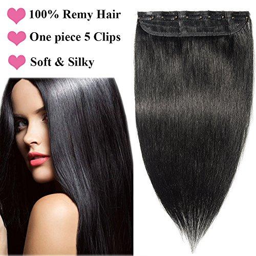 Extension a Clip Cheveux Naturel Noir Foncé [1 Pièce 5 Clips] Extension Cheveux Humains Pose a Froid 40cm 100% Remy Hair [ 01#Noir ]