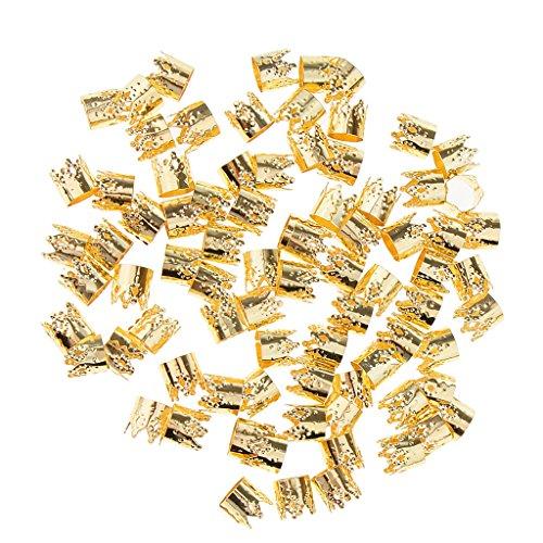 Homyl 80 Pièces Perles de Cheveux Tresse Dreadlocks Pince à Cheveux Bijoux Bricolage Décoration Tressage - Or