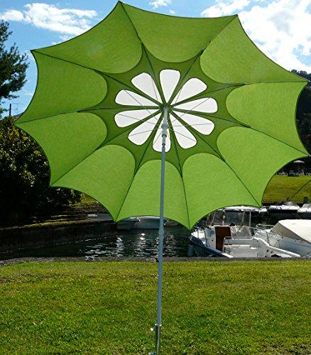 PEGANE Parasol Rond centré Coloris Anis/Blanc - Dim : H 250 x D 250/10 cm