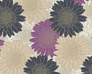 A.S. Création 6748-52 Papier Peint, Motif floral, Beige Doré Pourpre Noir (Import Allemagne)