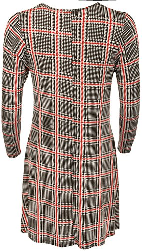 WearAll - Grande Taille Imprimer manches longues Robe trapèze - Femmes - Robe - Grande Tailles - 42-60 Rouge Carreaux