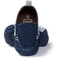 BrillaBenny Mocassino Scarpina Neonato Yachting 3-6 Mesi (11 CM) Bianco E Blu Navy Jeans Baby Boy Maschietto Slip ON