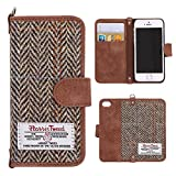 Harris Tweed iPhone SE Case iPhone SE Flip case, Monojoy® Premium Harris Tweed fabrics and synthetic leather Flip Phone Case iPhone 5/5s and iPhone SE Case Cover, 100% Handmade, Credit Card Holder, Non-Slip, Cotton Material, Retro Magnetic Flip Folio Cover Case for iPhone 5/5s and iPhone SE (Brown)