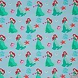 Jersey Stoff Disney Arielle hellblau grün rot 1,6m Breite