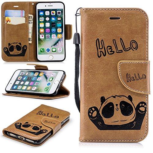 COZY HUT Hülle iPhone 7 / iPhone 8 Handyhülle [Premium Leder][Standfunktion] [Kartenfach] [Magnetverschluss] Schlanke Leder Brieftasche für iPhone 7 / iPhone 8 - Brauner Panda