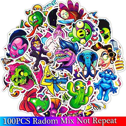 Juego de 100 pegatinas de terror de dibujos animados para equipaje, monopatín, portátil, motocicleta, etc.