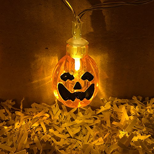 Halloween - 30er Warmes Weiß Kürbis Beleuchtung LED Fairy Lights 3.5M-- Batterie betrieben [Energie Klasse A (Halloween Innendekorationen)
