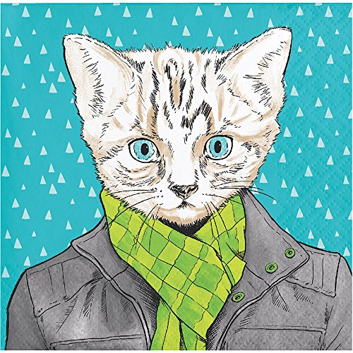 (Elise 330012Dapper Tiere Muster 3-lagig Getränke Papier Servietten, Katze)