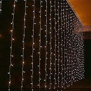 ANGELBUBBLES Guirlande rideau filet lumineux éclairage décoration 3M×3M 300leds pour Noël soirée Festival maison magasin vitrine mur restaurant jardin fenêtre (Blanc chaud)