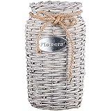 Chifans, cesta de mimbre hecha a mano, jarrones de ratán, decoración del hogar, arreglos florales, cesta de flores, gris, /