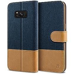 BEZ Coque SamsungS8, Etui pour Samsung Galaxy S8 Housse en Cuir de Protection, Portefeuille en Cuir Polyuréthane, Crochet, Pochette Monnaie, Fermeture Magnétique - Bleu Marine