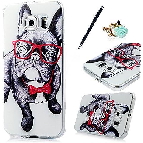 Cover Galaxy S6,ZSTVIVA Custodia case morbido in silicone e TPU per Samsung Galaxy S6 case cover protettivo disegno speciale - modello Cane