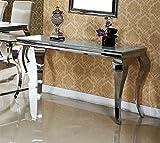 Konsolentisch 140x45x75 Mara Wandtisch Flur designer luxus Tisch Büro Edelstahl Glas Barock Chrom Weißglas weiß