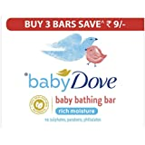 Baby Dove Rich Moisture Bar- Hypoallergenic, No Parabens, No Sulphates, No Phthalates 75 g (Pack Of 3)