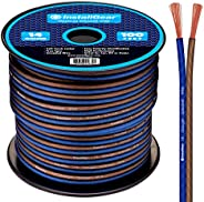 InstallGear 14 Gauge AWG 100ft Speaker Wire True Spec and Soft Touch Cable - Blue/Black (Great Use for Car Spe