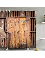 Rústico Antiguo Puerta De Madera Imagen Rústico Granero Concepto Decorado Cortina De Ducha Para Casa Con Anillo De Rodillo