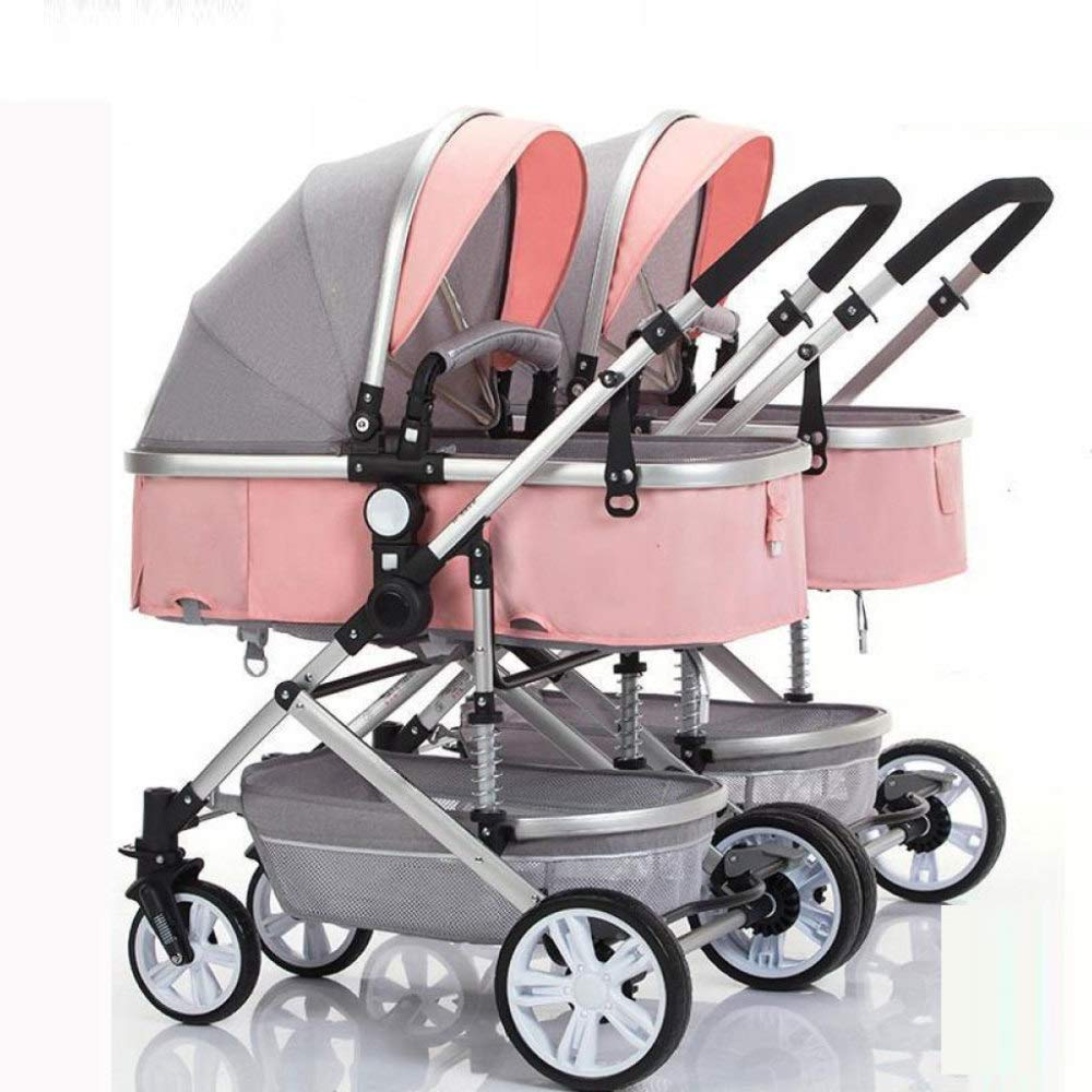 Double Stroller Folding Shockproof Lightweight Toddler Strollers Infant Portable Cart Can Sit Half Lying 0 3 Years Old Maximum Loadable 50kg Baby