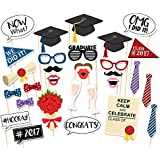 Veewon Los nuevos 2017 accesorios de la cabina de la foto de la graduación apoyan los lazos de los labios rojos del bigote de los vidrios del partido en los palillos Decoraciones de la fiesta de graduación, 30 pedazos