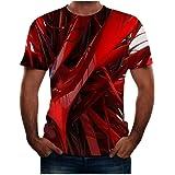LANSKIRT Camisetas Manga Corta Hombre Camisa Deportiva de Hombre con Estampado de Imagen En Línea 3D, Ropa de Primavera, Vera