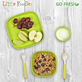 Go Fresh Bamboo Kids Plates 4 Pack, Bamboo Dinnerware, Bamboo Kids dinnerware Set, BPA Free (Multiple Colors), Kids Bamboo Plates for Healthy Feeding