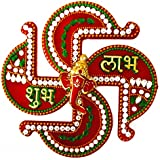 Designer All In One Piece -Multi Color Stone And Pearl Studded Acrylic Handcrafted Swastik Shubh Labh Ganesh- Sticker For DOOR/WALL/FLOOR/DIWALI DECORATION-LIMITED STOCK