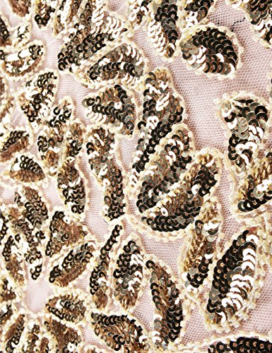 Kayamiya Damen Gatsby Kleid 1920er Perlen Pailletten Maxi Lange Charleston Meerjungfrau Abendkleid 32-34 Gold Beige - 4