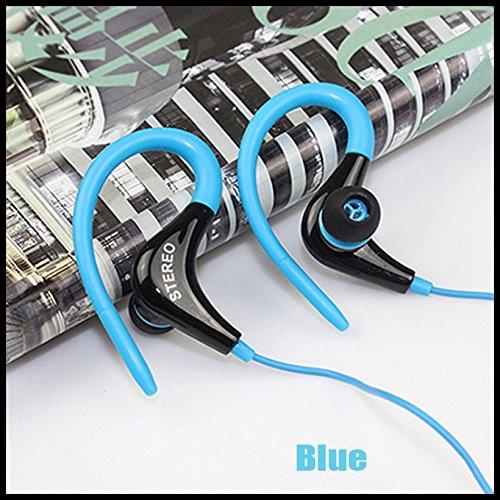 Sport Gym Kopfhörer-Ohr Ohrbügel Kopfhörer Laufen Joggen mit Mikrofon Headset (Schiff von epacket kostenlos), blau -