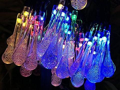 Multi Couleur Stalactite LED 60LED 36cm, Satu Marron 11m jardin extérieur cordes Guirlande lumineuse solaire Goutte d