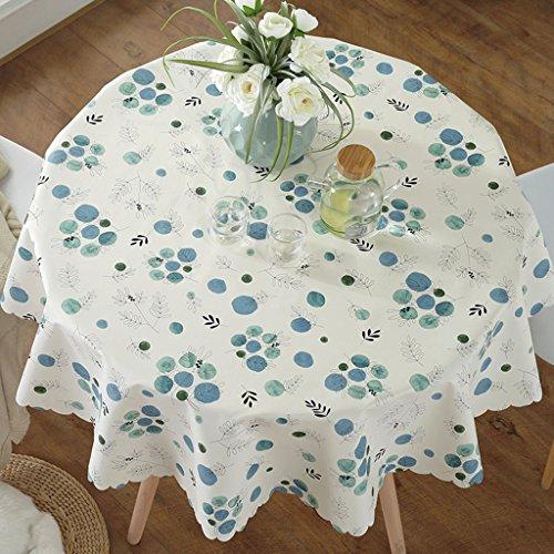 Nappes PVC Petite Table Ronde Table Tapis Hôtel Ménage Étanche Anti-Hot Étanche À l'huile Continental Table Tissu (Couleur : Bleu, Taille : Diameter 130 cm)