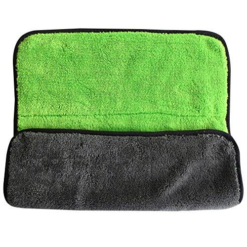 VORCOOL Handtücher, für Auto, 2 Stück Reinigungstücher, Zum Trocknen der Haarentfernung, Extra Dick, Mikrofaser, 15 x 17,7 cm (GreenGrey) (Trocknen Auto Handtuch)