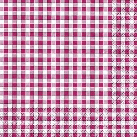 33 x 33 cm Lunch Tovaglioli Berry/Bianco Vichy Design, 60 Tovaglioli, 3-strati di carta