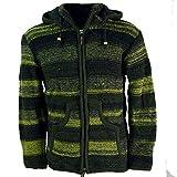 Guru-Shop Strickjacke Wolljacke Nepaljacke Batik, Herren, Olive, Size:XXL, Jacken, Ponchos Alternative Bekleidung