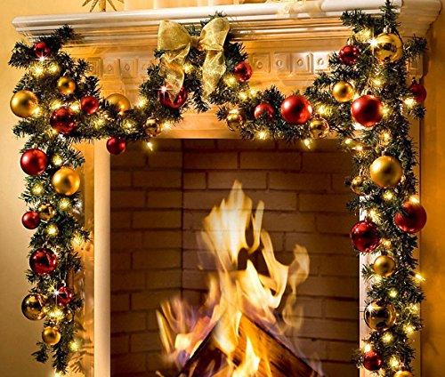 ande Girlande XXL beleuchtet 5m 80 LEDs 36 Kugeln gold rot Deko (Outdoor Beleuchtete Girlande)