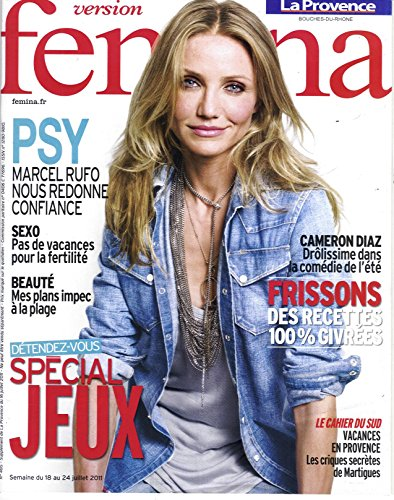 VERSION FEMINA N°485: CAMERON DIAZ/ BELLE A LA PLAGE/ FERTILITE/ RECETTES GIVREES/ ENFANT CONFIANCE EN SOI/ PARCS D'ATTRACTION/ ROBES BLANCHES LONGUES/ COULISSES DU TOUR DE FRANCE par collectif
