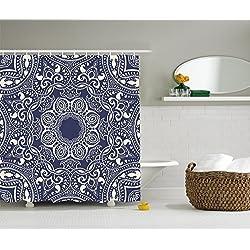 "ambesonne Duschvorhang Mandala Decor Kollektion, runde Muster Sommer Boho Bohemian Native asiatischen Print Polyester-,-Badezimmer Set mit Haken, Multi 3, 69"" W By 75"" L"