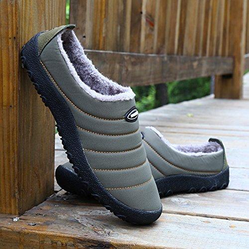 SAGUARO® Outdoor Coton Peluche Pantoufles Femme Homme Hiver Chaussons Mules Accueil Slippers Doublure Intérieure Douce Chaussures Gris